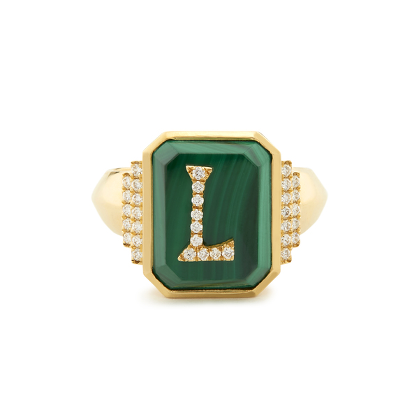 Sorellina Customizable Monogram Malachite Signet Ring
