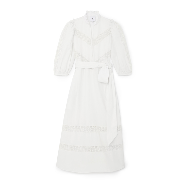 G. Label Lace-Trim Puff-Sleeve Cover-Up Dress