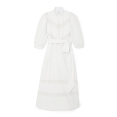 Lace-Trim Puff-Sleeve Cover-Up Dress