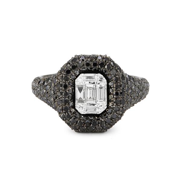 Shay Jewelry Jumbo Baguette Cut Diamond Pave Pink Ring