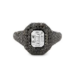 Jumbo Baguette Cut Diamond Pave Pink Ring