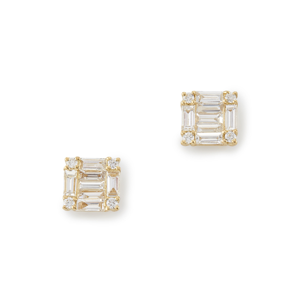 Shay Jewelry Mini Square Baguette Studs