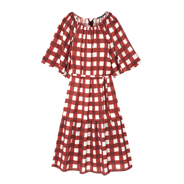 Mother of Pearl Gingham Dress with Elastic Waistline