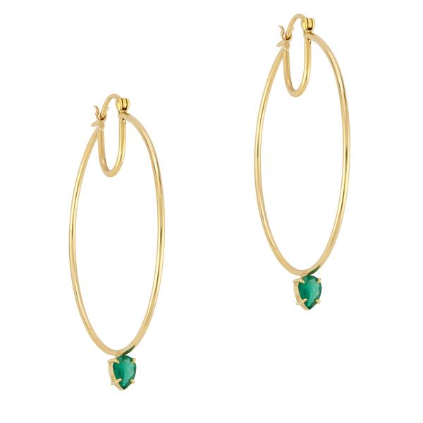 Jemma Wynne 40mm Hoops With Emerald Drop