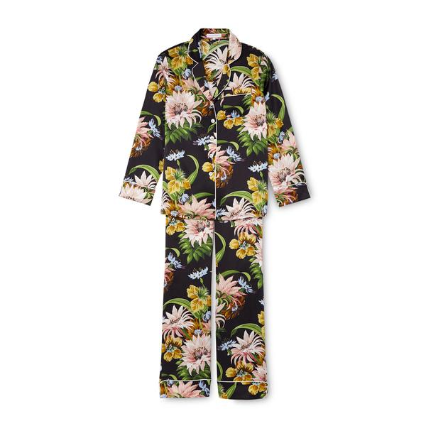 Olivia von Halle Lila Tropicana Silk Long-Sleeve Pajama Set