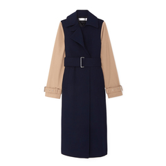 Contrast-Sleeve Fitted Coat