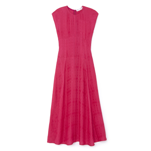 Victoria Beckham Textured Cloqué Cap-Sleeve Midi Dress