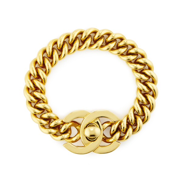 What Goes Around Comes Around Chanel Gold Turnlock Bracelet