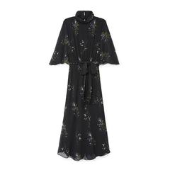 Mari High-Neck Flutter-Sleeve Mid-Length Dress