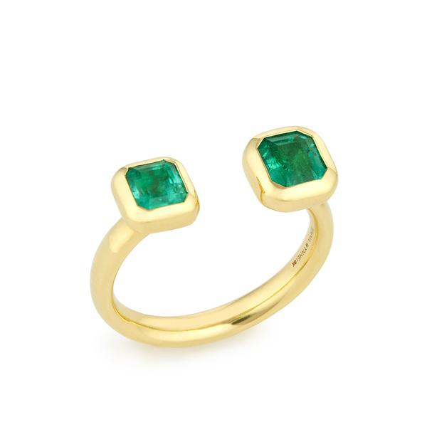 Jemma Wynne Open Emerald Bezel Ring