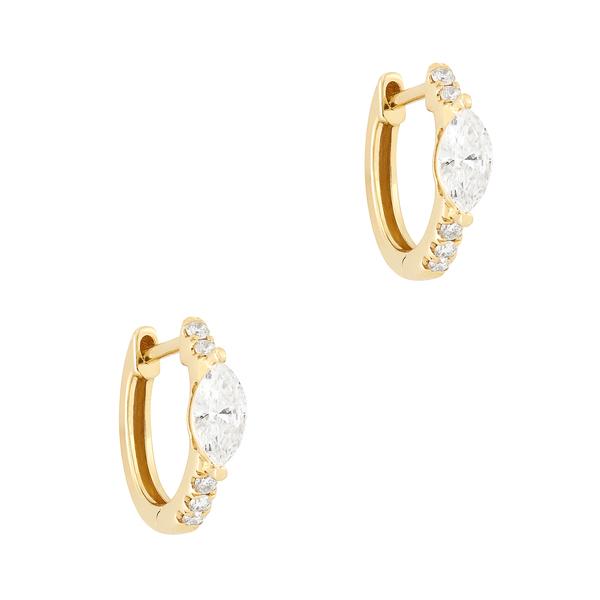 Anita Ko 18-Karat Yellow-Gold Huggies with Marquis Diamond Center