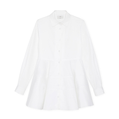 Collared Tier Button Top