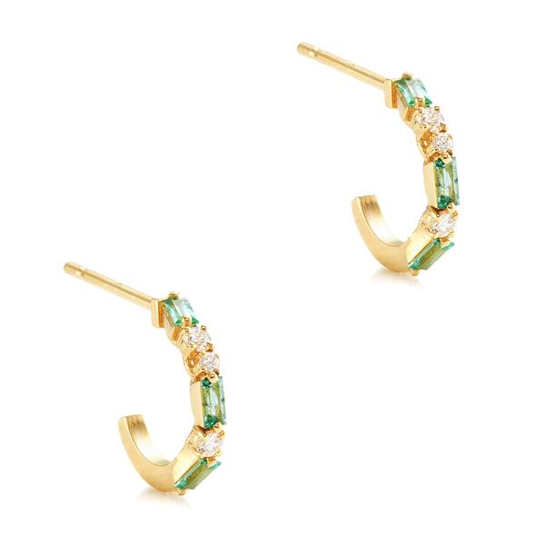 Suzanne Kalan Emerald Thin Hoop Earrings