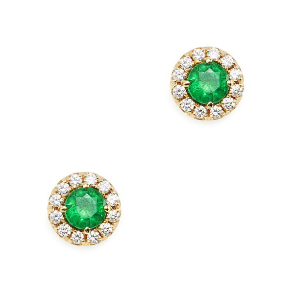 Suzanne Kalan Emerald Mini Circle Stud Earrings