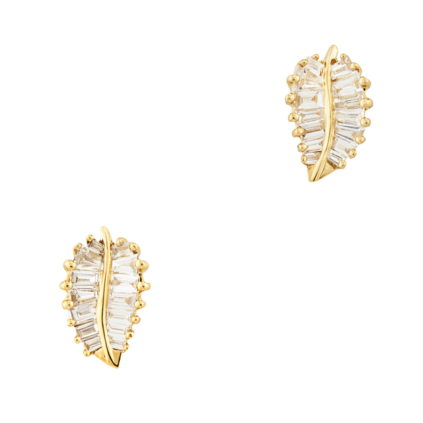 Anita Ko Yellow-Gold Small Palm Leaf Studs