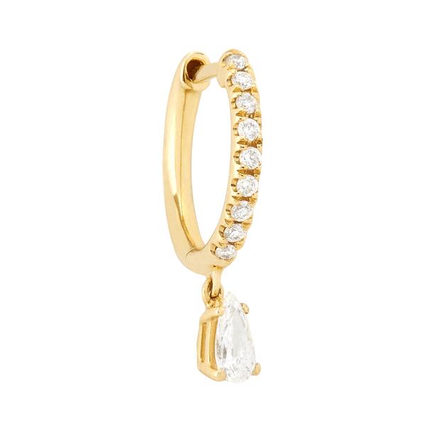 Anita Ko 18-Karat Yellow-Gold Small Pave Hoops with Pear Diamond Drop