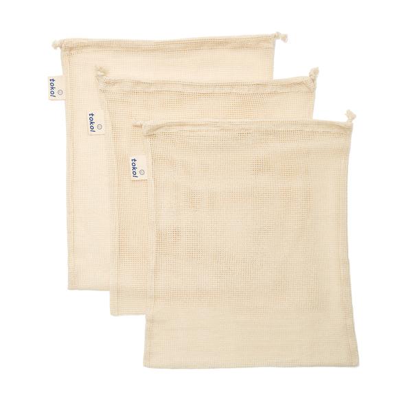 toko!  Organic Cotton Drawstring Produce Bags, Set of 3
