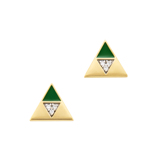 Harwell Godfrey Enamel Diamond Triangle Studs
