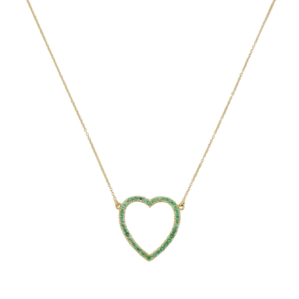Jennifer Meyer Emerald Large Open Heart Necklace