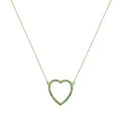 Emerald Large Open Heart Necklace