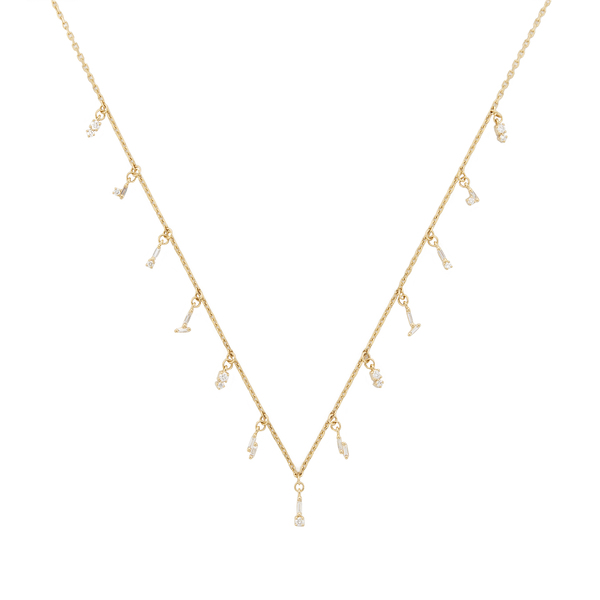 Suzanne Kalan Diamond Baguette Drops Necklace