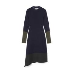 Chunky-trim Long Sleeve Dress