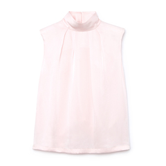 Sissy Pleat-Neck Padded-Shoulder Shell