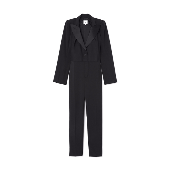 G. Label Willis Puff-Sleeve Tuxedo Jumpsuit