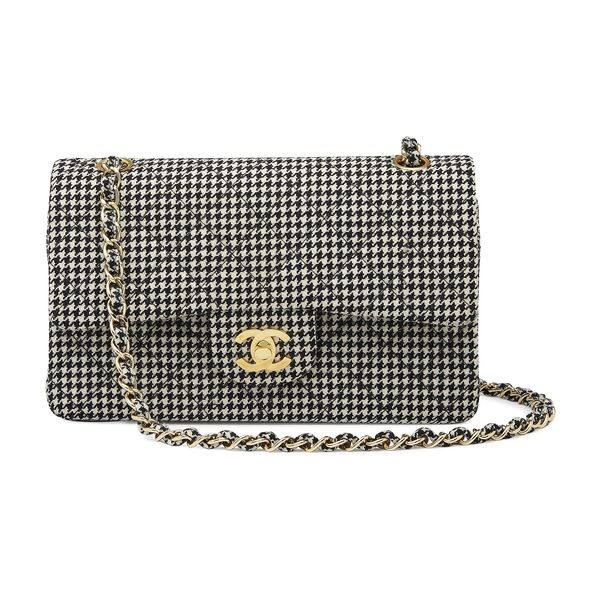 """What Goes Around Comes Around Chanel Houndstooth 2.55 9"""" Bag"""
