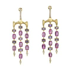 Gold Chrona Chandelier Earrings
