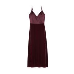 Chelsea Satin-and-Velvet Slip Dress