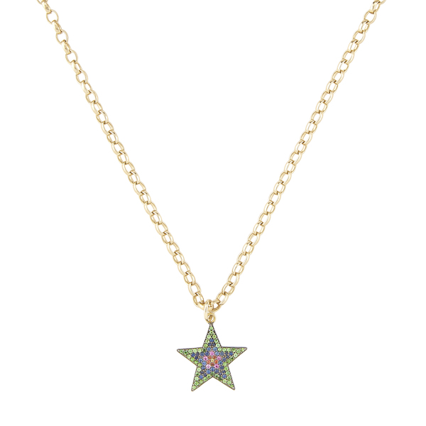 Kirstie Le Marque Pavé Multicolor Large Star Pendant Necklace