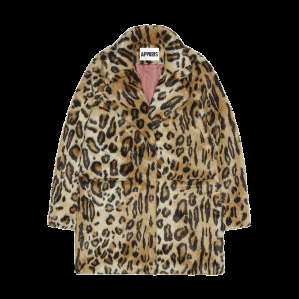 Apparis Margot Faux Fur Coat in Leopard