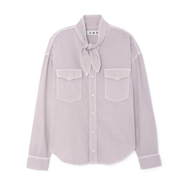AMO Tie Neck Flannel Shirt