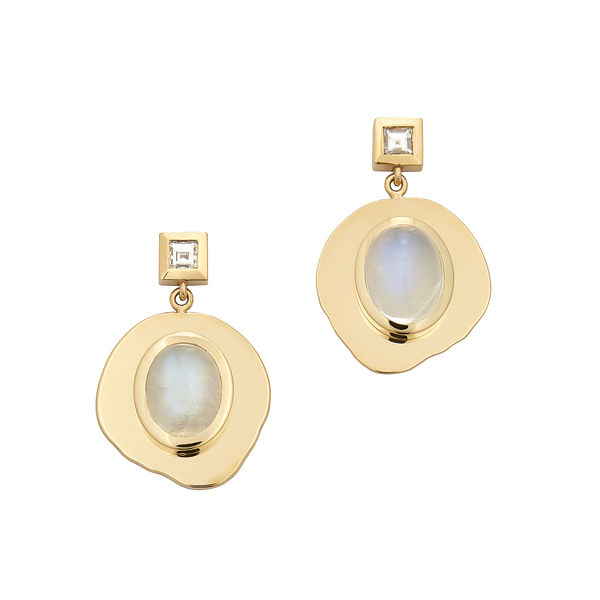 Azlee Modern Byzantine Moonstone Diamond Coin Earrings