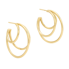Gold Double-Layered Hoops