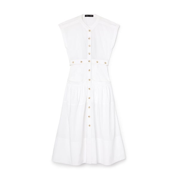 Proenza Schouler Short-Sleeve Buttoned Cotton Dress