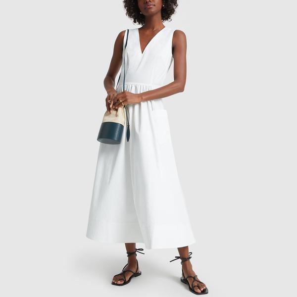 Co Sleeveless Trapunto-Hem Dress
