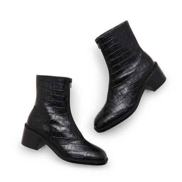 BY FAR Shoes Bruna Croc-Embossed Boots