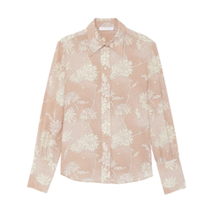 Rose-Printed Button-Down Shirt