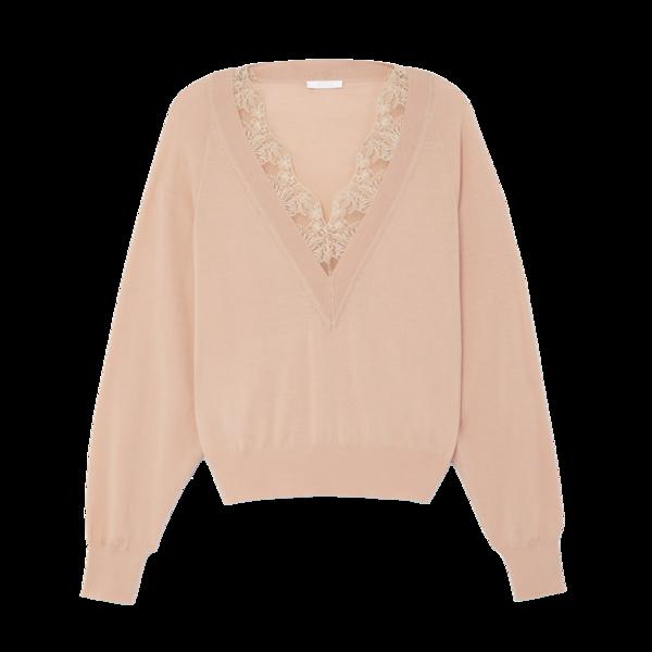 Chloé Lace-Trim V-Neck Sweater