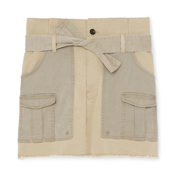 Frame Paper-Bag Multi-Tone Skirt