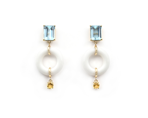 Bondeye Jewelry Blue Topaz Munchkin Earrings with Citrine Drops