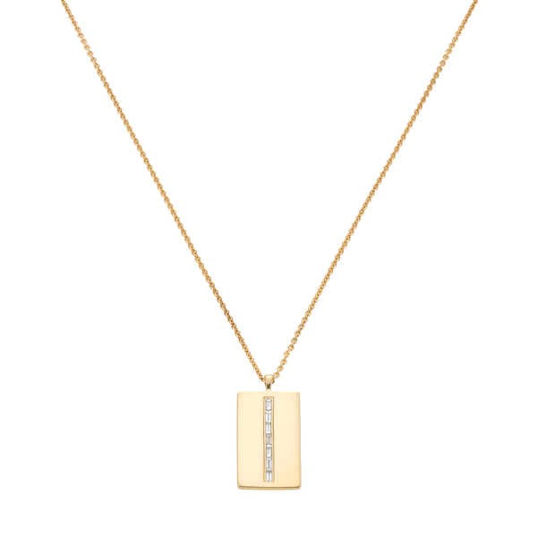 Eriness Diamond Baguette Dog Tag Necklace