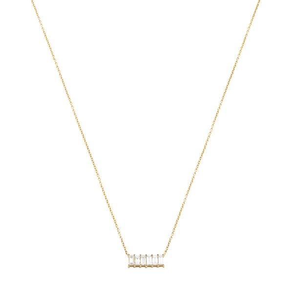 Eriness Diamond Baguette Staple Necklace