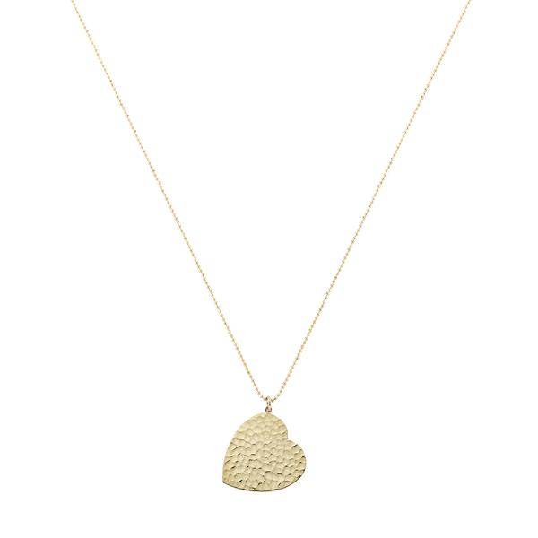 Jennifer Meyer Large Hammered Heart Necklace