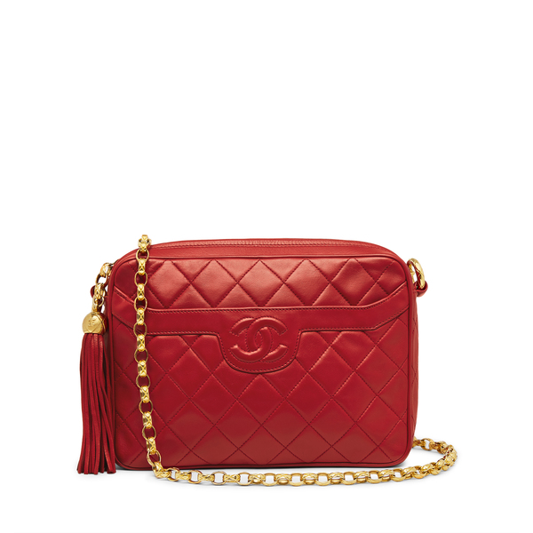 What Goes Around Comes Around Chanel Red Lambskin Pocket Camera Bag