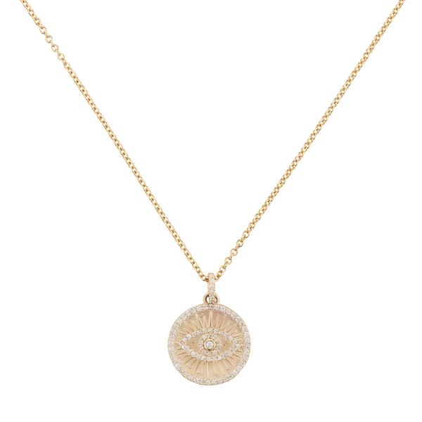 Sheryl Lowe Pavé Diamond Evil Eye Necklace