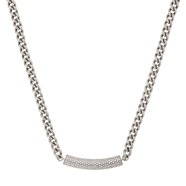 Sheryl Lowe Sterling Silver Curb Chain with Diamond Bar Necklace