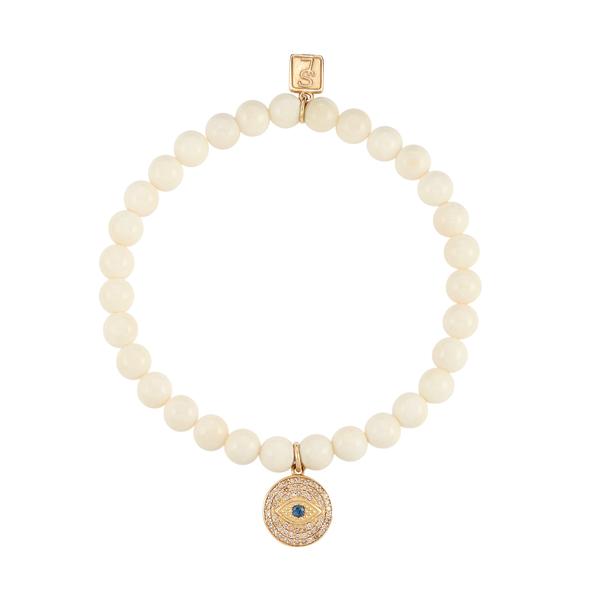 Sheryl Lowe Bone Bracelet with Diamond Evil Eye Charm